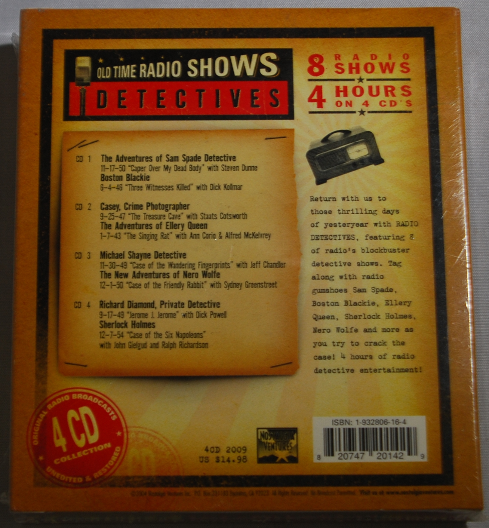 OLD TIME RADIO SHOWS DETECTIVES 4 CD PACK